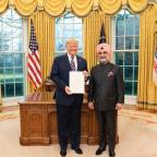 India's envoy to US, Taranjit Singh Sandhu, presents credentials to President Trump
